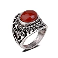 buy Yazilind Vintage Antique Round Cut Red Jade Retro Silver Plated Heart Hollow 8 Ring Women