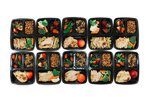 10 pack fit simple stackable meal prep containers 3 compartment bento box ebay. Black Bedroom Furniture Sets. Home Design Ideas