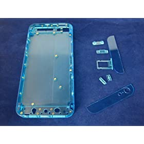 iPhone 5 Plastic Transparent Blue Middle+Back Cover Housing Mobile Phone Repair Part Replacement