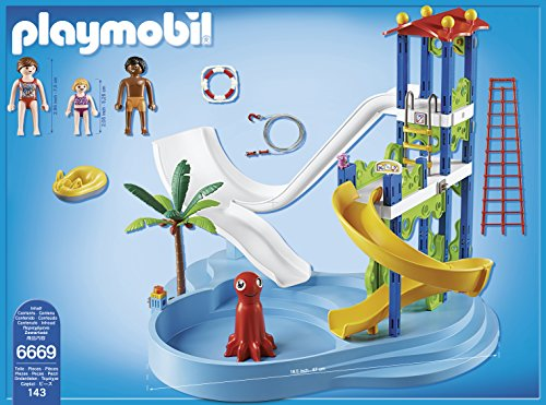 Playmobil water park with slides playset toys games for Piscine playmobil