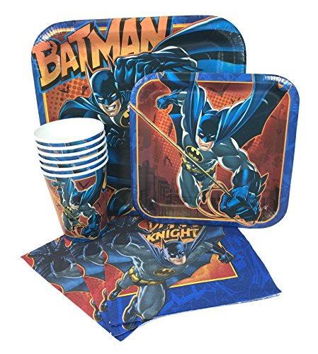 Batman Party Express Pack for 8 Guests (Cups Napkins & Plates)