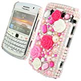 Cooltechstuff Hot Pink/Baby Pink Hard Fitted Case Cover/Gemstone Flower Princess Diamond Pearl For Blackberry Bold 9700