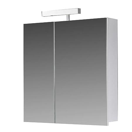 Eurosan Super Flat Halogen Light, White Color, Berlin Dark Wood Mirror Cabinet, weiß, 60  x  62  x  13 cm