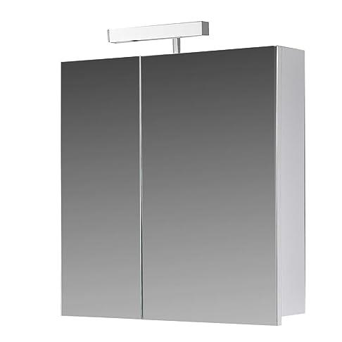 Eurosan armadietto a specchio, Super piatta, alogena lampada, bianco, Berlino, Legno, Legno, bianco, 60  x  62  x  13 cm