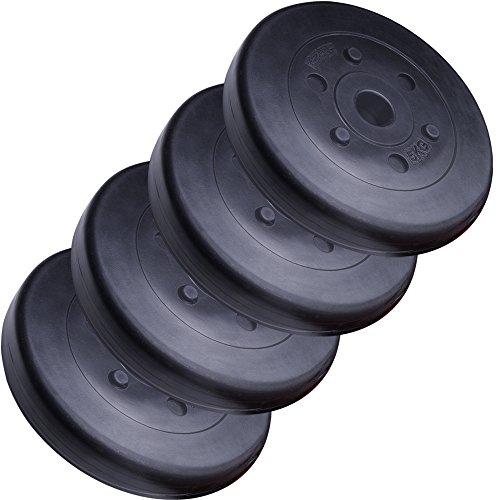 ScSPORTS HS049 - Pesi in plastica con foro da 30 mm, 4 x 5 kg, colore: Nero