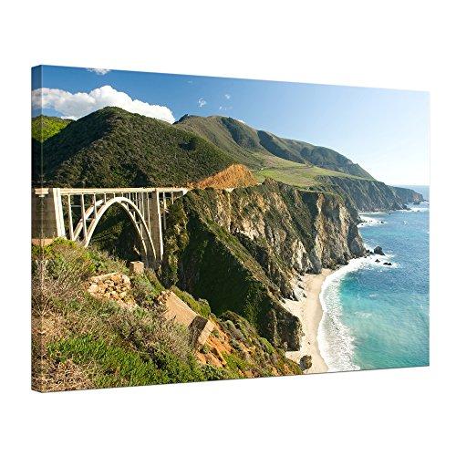 """Bilderdepot24 Leinwandbild """"Big Sur Küstenlinie in Kalifornien"""" - 70x50 cm 1 teilig - fertig gerahmt, direkt vom Hersteller"""