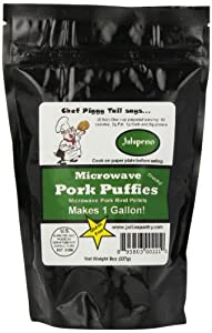 Chef Piggy Tail Microwave Pork Puffies Pork Rinds, Jalapeno, 8 Ounce
