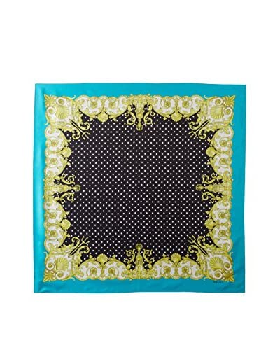 Versace Women's Floral Frame Silk Scarf, Black/Yellow Multi