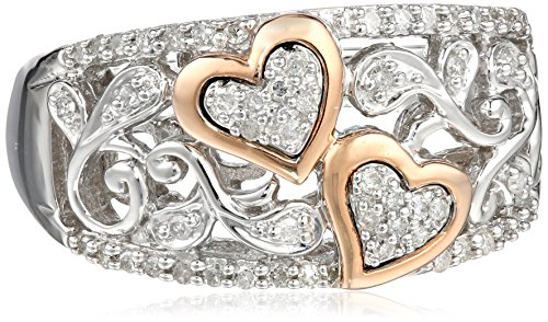 XPY Sterling Silver and 14k Pink Gold Diamond Hearts Ring (1/4 cttw, I-J Color, I2-I3 Clarity), Size 8