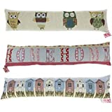 Patterned Fabric Cushioned Home Door Draught Excluder 88cm - Owl Design