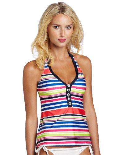 Nautica Women's Multi Color Stripe Halter Tankini