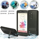 (Surprised) Lg G3 Waterproof Case (Gift for Screen Protect Film and Clean Cloth) Full-body Protective Case Waterproof Shockproof Dustproof Snowproof Case Cover 6.6 Ft Underwater Durable Full Sealed Protection Water Resistant Hard Shell Full-body Protective (Stand Feature) (3 Months Warranty) Case Cover for Lg G3 (Do Not Fit for Lg G3 Mini) (LG G3 XLJ black)