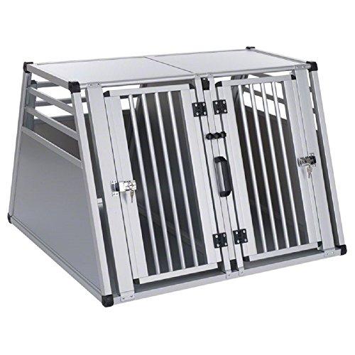 Aluline XXL Doppel Tür Hundebox Partition für kleinere Hunde Aluminium Kunststoff
