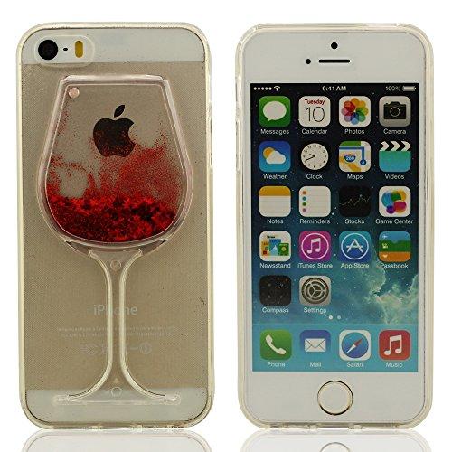 Transparent schutzhülle iPhone 5S Hülle, Tasche für iPhone 5, iPhone 5 Case Cover, Schwimmende Sterne Flüssigkeit Wasser Tasse Form Modellieren Design, schützender Fall für iPhone 5 / iPhone 5S