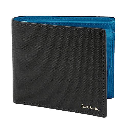 Paul Smith ポールスミス 国内正規品 ストライプエンボスIB 2つ折り財布 ブランド レザー ウォレット 本革 財布 (ブラック)