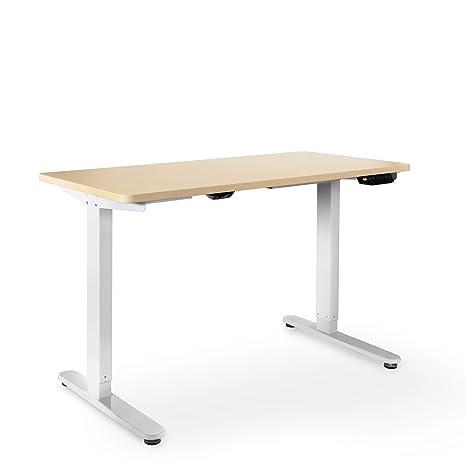 eSmart Germany elektrisch höhenverstellbarer Schreibtisch | Mit Holz-Tischplatte aus Ahorn und Tischgestell | 120 x 60 cm