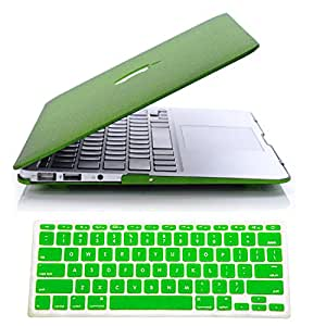 "IDACA Quicksand Green Matte Hard Shell Case Cover for Macbook Air 13"" 13.3"" A1369 & A1466 and 2014 New Macbook Air 13"" with Silicone Keyboard Cover (USA KEYBOARD VERSION)"