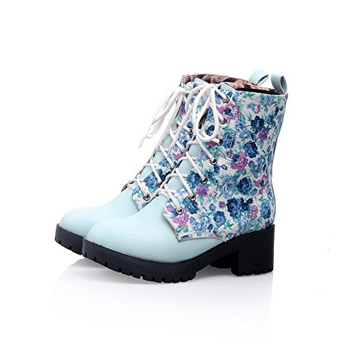 Voguezone009 Womens Round Closed Toe Kitten Heels Synthetic Assorted Colors Boots With Printing, Blue, 7 B(M) Us