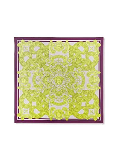 Versace Women's Scroll Silk Scarf, Purple/Lavender/Green
