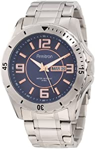 Armitron Men's 20/4855BRSV Stainless Steel Blue Dial Rosegold-Tone Accented Bracelet Watch