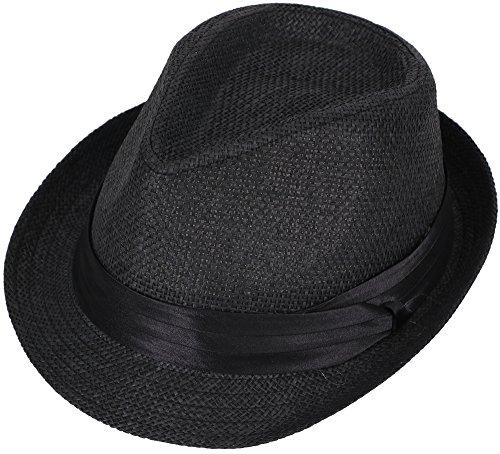 Simplicity Men / Women Summer Short Brim Straw Fedora Hat, 756_Black LXL (Fedora Hats Extra Large compare prices)