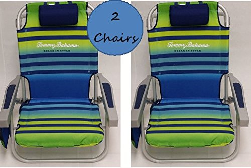 2 Tommy Bahama 2015 Backpack Cooler Chairs with Storage Pouch and Towel Bar- green/light blue