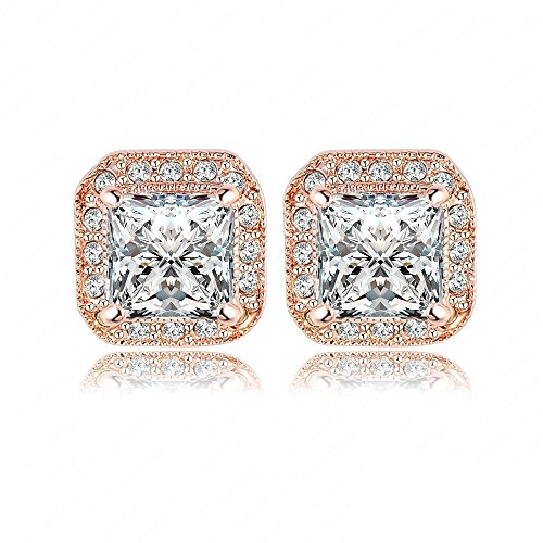 18K Gold Plated Square Stud Earring Rose Gold Plate/Platinum Plated SWA Elements Austrian Crystals Earrings
