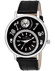 Swisstone VOGLR321-Black Dial Black Leather Strap Analog Wrist Watch For Women