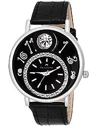 Swisstone VOGLR321-Black Dial Black Leather Strap Analog Wrist Watch For Women