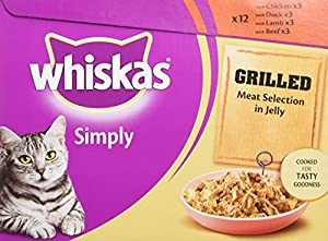 Whiskas Simply Grilled Meat in Jelly 12 x 85 g (Pack of 4, Total 48 Pouches)