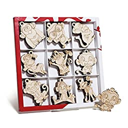 Handmade DIY Wooden Set 18 PCS Animals Monkeys Kids Crafts Art Home Decor