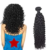 EMEDA Curly Human Hair Weave Brazilian Kinky Curly Remy Human Hair Extensions #1B off black 16