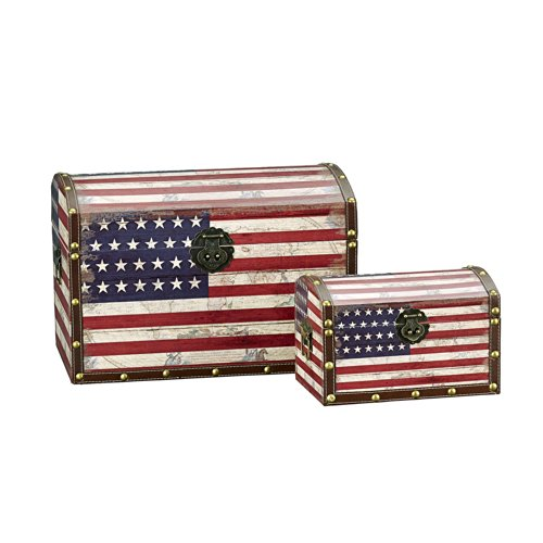 Household Essentials Decorative Storage Trunk, American Flag Design, Large And Small, Set Of 2