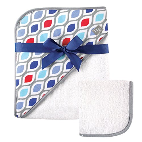 Hudson Baby Print Woven Hooded Towel and Washcloth, Boy, Net