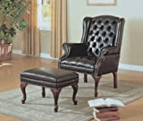 Monarch Specialties I 8090 Dark Brown Leather Look Wing Chair And Ottoman