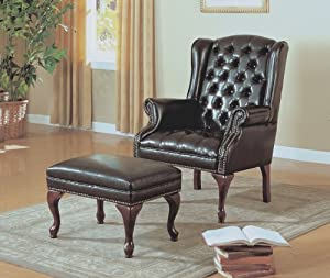 Monarch Specialties Leather Look Wing Chair and Ottoman, Dark Brown