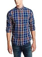 Springfield Camisa Hombre Twill Check (Azul Oscuro)