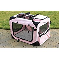 RayGar PINK DOG PUPPY CAT KITTEN PET SOFT FABRIC PORTABLE FOLDABLE STRONG CRATE PET CARRIER KENNEL CAGE SMALL 49.5 x 34.5 x 35cm - NEW (Small)