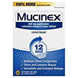 Mucinex 12-Hour Chest Congestion Expectorant Tablets, 40 Count