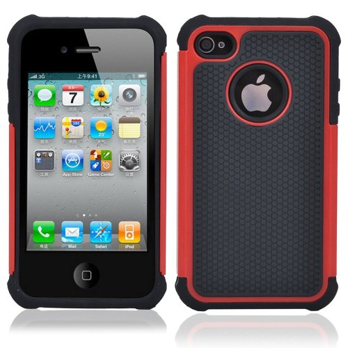 TCD for Apple iPhone 4 4S [RED] LIFETIME WARRANTY Executive Armor Defender Series [HIGH IMPACT] Multi Layer [Hard/Soft Combo] TPU & Hard Plastic Shock Absorbent [SCREEN PROTECTOR STYLUS PEN] (Iphone 4 Case Combo Pack compare prices)