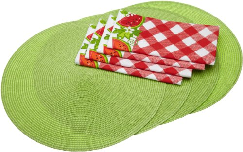 DII Juicy Watermelon Round Braided Placemats and Watermelon Check Napkins Linen Set, Lime
