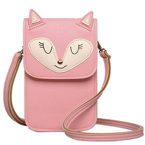 JXLOULAN Estate Messenger Phone confezione ragazze Cute Cartoon diagonale Mobile Phone Bag Small Change borsa (Rosa)