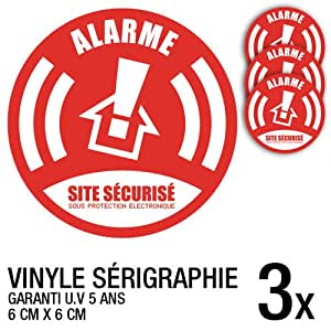 Lot de 3 autocollants / stickers Alarme sécurité / 6 cm
