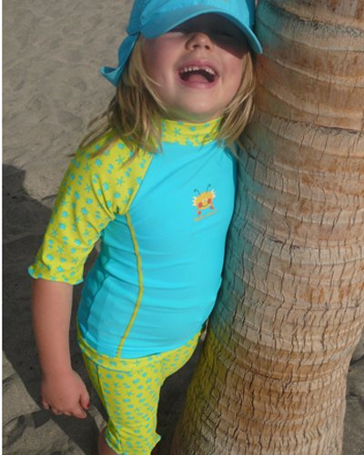 Splash About Sun Protection Top & Shorts (close fit, ideal for swimming) - Turquoise bobbing along - 1-2yrs