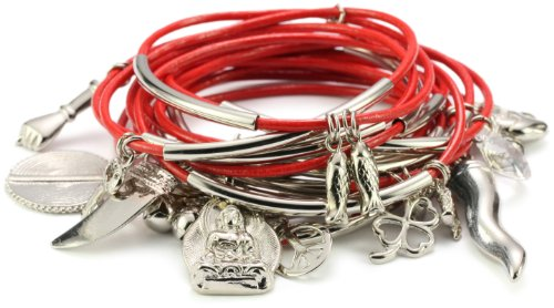 Accessories & Beyond Set of 15 Tomato Color Leather Bangles