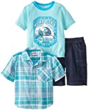 Peanut Buttons Boys 2-7 4-7 Surf Plaid Woven Short Set