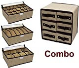 COMBO DEAL : 3 Pcs Innerwear Organiser Boxes + Drawer Set with 6 drawers. Nice for self use or for gift on birthday anniversary housewarming etc.