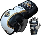 Authentic RDX Leather Gel MMA UFC Grappling Gloves Fight Boxing Punch Bag Shorts, X-Large