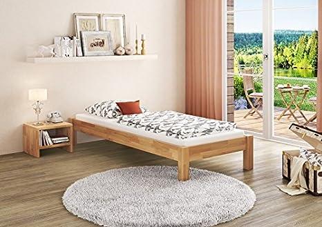 Einzelbett in Überlänge 120x220 Buche-Bettgestell mit Rollrost 60.84-12-220