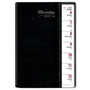 Rediform Brownline 2014 Pre-Vu Weekly Planner, Twin-Wire, Black, 8.5 x 6.75 Inches (CB920.BLK)